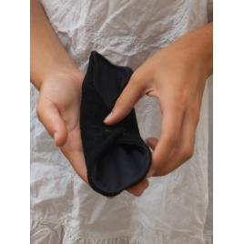 Serviette hygiénique à ailettes Noire en bambou