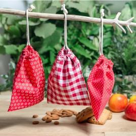 Trio de snack bag, sac à goûter, fabrication Française par Petites Ailes